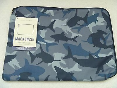 Pottery Barn Kids Blue Shark Wet Dry Bag  Luggage Sleepover Swimming Sold Out