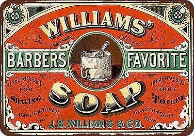 "9"" x 12"" Metal Sign - 1886 Williams' Barbers Favorite Soap - Vintage Look Reprod"