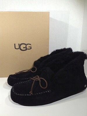 UGG Alena Women's Size 10 Black Suede Fur Lined Slippers Shoes X3-598