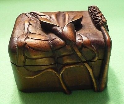 Vintage hand carved wooden box with deep raised relief FLOWERS , STEMS & leaves.