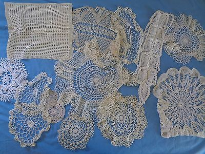 Lot Crocheted Doilies Pretty Cream Ivory Different Shapes and Sizes