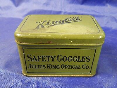 Vintage Julius King Safety Goggle Tin 1930's