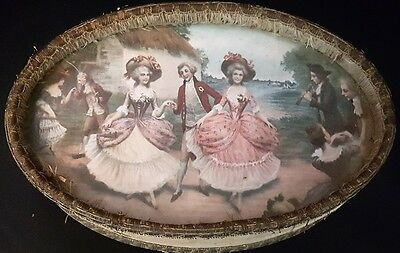 Victorian Antique Jewelry/Vanity Box/Lithographed Cover French/English Court