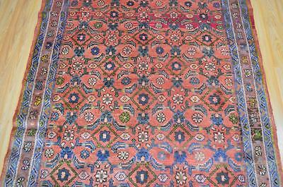 4'4x6'10 Genuine Semi Antique Persian Tribal All Over Hand Knotted Wool Area Rug