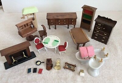 Dollhouse Miniature Furniture and Accessories Lot of 24 Pieces Wood Ceramic