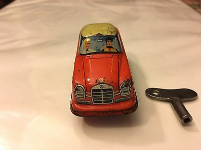 Vintage - West Germany Mercedes Tin Litho Wind Up Toy Car g-e 1960S