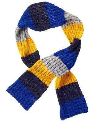 Gymboree Buffalo Lodge Blue Yellow Navy & Gray Striped Sweater Scarf 1-Size Nwt