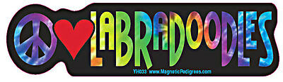 Peace Love Labradoodle Tie Dye Hippie Dog Car Decal Sticker