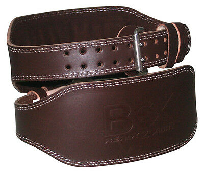 "BEX Weight Lifting 6"" Nubuck Leather Belt, Back Support Strap Gym Training Power"