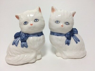 White Kitten Salt And Pepper Shakers Set Pair Cats With Blue Bows