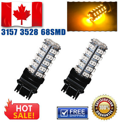 2 Pieces of Brand New Amber Orange 3157 68-SMD LED bulbs 4157NA 3157A