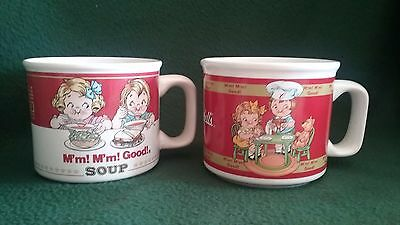 Campbell's Soup Mugs Cups Bowls lot of 2, 1997, 1998 red white Westwood, Houston
