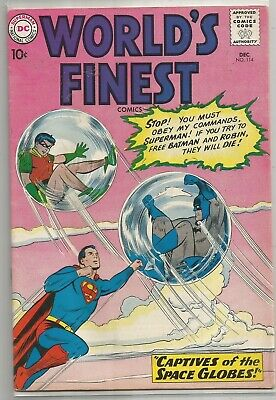 World's Finest #114 DC (1960) Silver Age Comic FN+/VF- (Green Arrow Back-Up)
