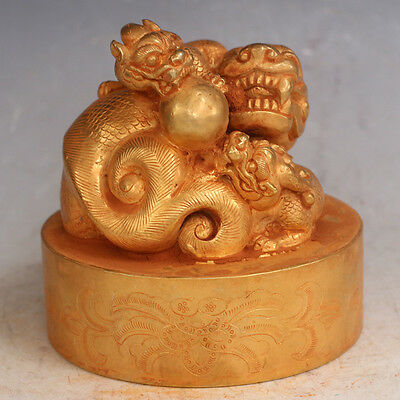 Chinese Exquisite Hand-carved brave troops carving copper Gilt seal statue