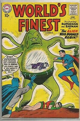 World's Finest #110 DC (1960) Silver Age Comic FN+/VF- (Green Arrow Back-Up)