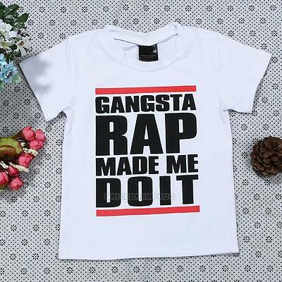 Gangsta Rap Kids Toddler Baby Boys T-Shirt Clothes Letters Print Top Performance