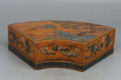 Chinese Exquisite hand-carved Text landscape carving lacquerware box
