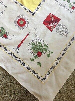 Vintage, Mid Century Tablecloth, Yellow, Red