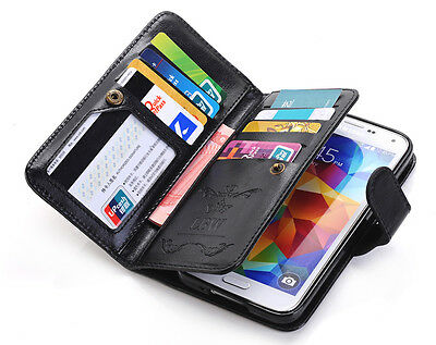 Luxury Leather Wallet Pouch Case Cover Flip Card Holder For Samsung Galaxy S4