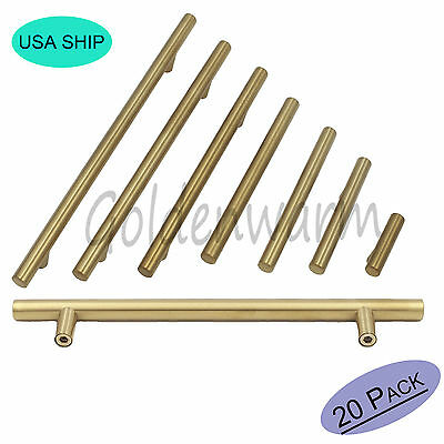 20PCS Gold Drawer Pull Brushed Brass Kitchen Cabinet Door Handles T Bar Knobs