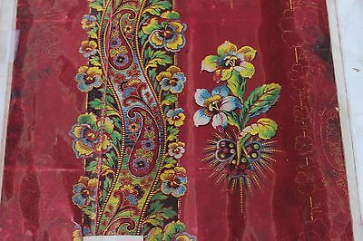 Antique Beautiful English Turkey Red Hand Painted Textile Design~Gouache c1899