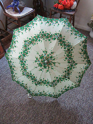 """Vintage Silk? Nylon? and Leather? Flowered  Parasol 33"""" Closed"""