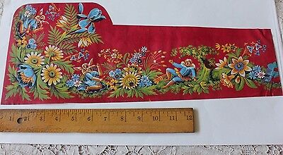 French Antique Turkey Red Hand Painted Textile Design~Cupids c1850-1870