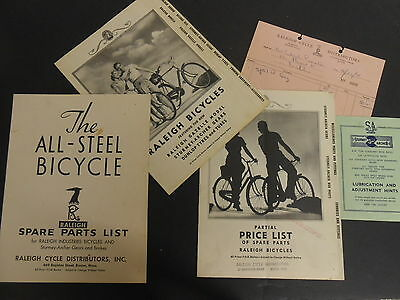 Lot of 1941 Raleigh Sturmey Brochures Catalogs Pamphlets Leaflets Spare Parts