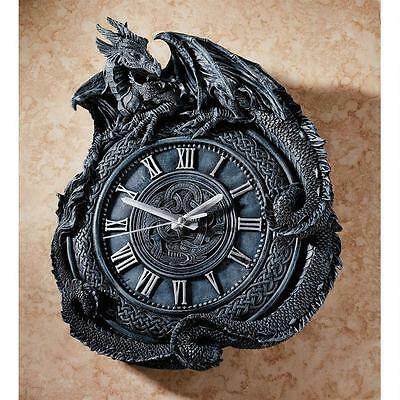 Dragon Clock Wall Penhurst Celtic Medieval Mythical Battery Operated Resin