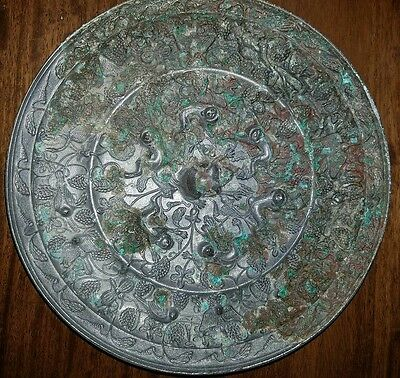 Antique Chinese Silvered Heavy Bronze Poss Tang Dynasty Mirror Lions Grapes