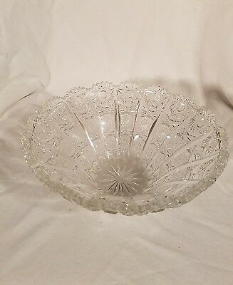 Heavy Antique American Brilliant Cut Glass Crystal Abp Large Bowl Nice
