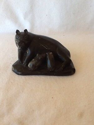 Mother Sow Pig with Piglets Antique Hand Carved Black Beautiful Carved Statue!