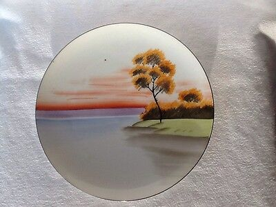 Antique Meito China Hand Painted Landscape Dinner Plate Beautiful Piece Of Art!