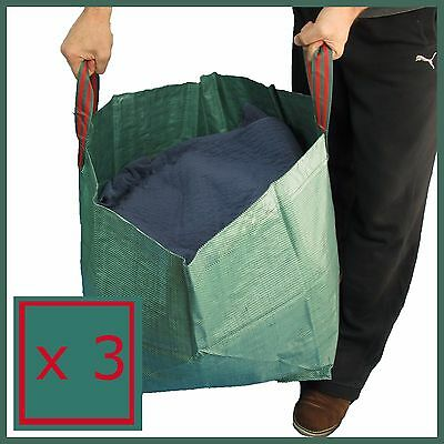 3 x Garden Rubbish Waste Bags Sack Bin Refuse Sack Leaf Grass Bag Shower Proof