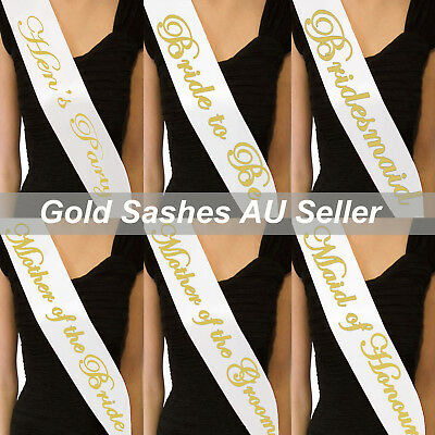 6x White Sashes Gold Text Hens Night Party Bridal Bride To Be Bridesmaid Wedding