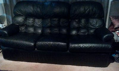 Black Leather Lounge Set, 3 Seater and 2 Single Recliner Chairs