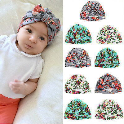 Cute Newborn Baby Girl Infant Toddler Kids Soft Cotton Cap Beanie Floral Bow Hat
