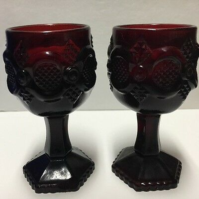"""Vintage Avon Ruby Red Cape Cod Water Set 2 Goblets w Candles 4.75"""""""