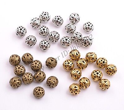 Tibetan Silver Round Metal Carved Flower Hollow Spacer Beads For Jewellry 11MM