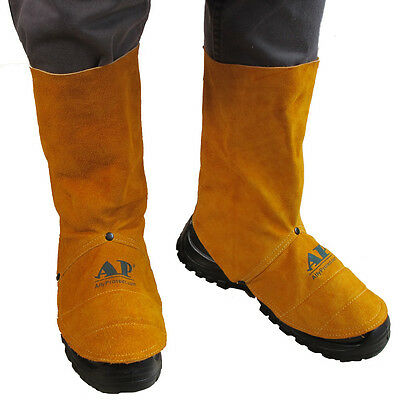 "AP-9400 Pairs 9"" FR Cowleather Welding Leggings and Spats Gaiter Shoe Protector"