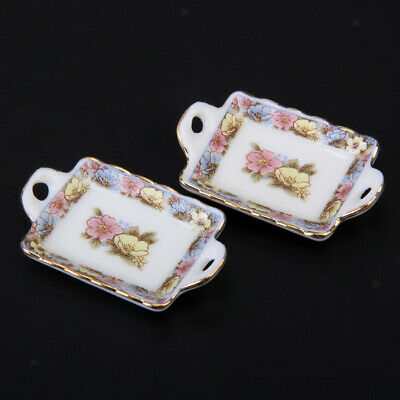 12th Doll House Miniature Dinner Ware Porcelain Tea Set Dish Cup Plate Tableware