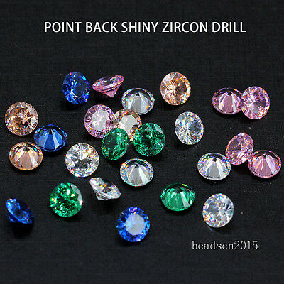 6/8/10mm Cubic zirconia cz cut round unfoiled back stone earring ring repair Gem
