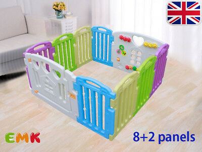 8+2 Panels Plastic Mixed Colors Baby Playpen With Education Functions&Game Panel