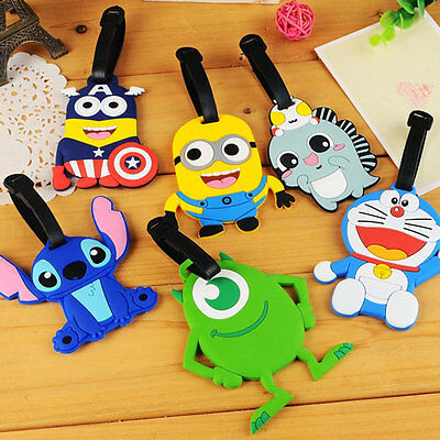 Travel Luggage Bag Tag Plastic Suitcase Baggage Cartoon Name Address ID Label