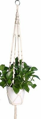 HANDCRAFTED Macrame Pot Plant Hanger 115cm WHITE Jute Rope Indoor/Outdoor Gift