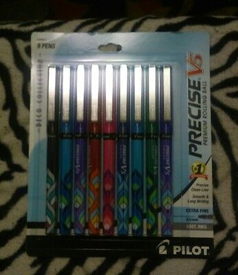 Ball Pens Extra Fine Point 9-Pack Pilot Precise V5 Stick Rolling Assorted Colors