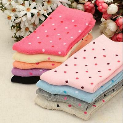 New Women's Girl's Dots 2 Pairs 100% Cotton Casual Warmer Ankle Socks Fashion
