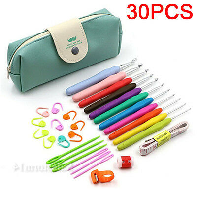 AU 30pcs Crochet Hooks Kit Yarn Knitting Needles Sewing Tools Grip Set With Bag