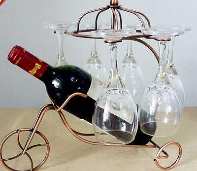 Retro Metal Wine Rack Bottle Glass Holder Table Stand Carrier Homeware Bronze