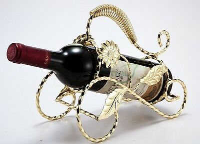 Luxury Gold Metal Single Wine Rack Bottle Holder Tabletop Carrier Homeware
